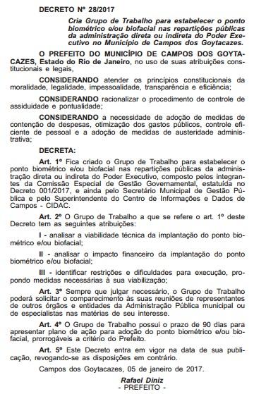 Publicação do Diário Oficial (Foto: Reprodução)