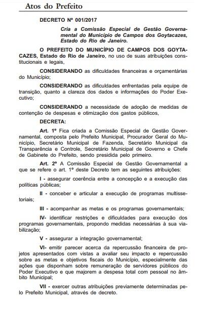 Decreto - Diário Oficial