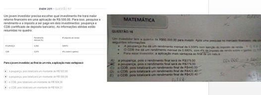 Questão de prova de Matemática para o cargo de Auxiliar Administrativo seria igual a do Enem 2011 (Foto: Reprodução)