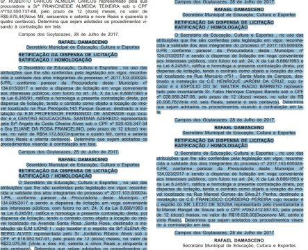 Cópia do Diário Oficial desta quarta-feira (Foto: reprodução)