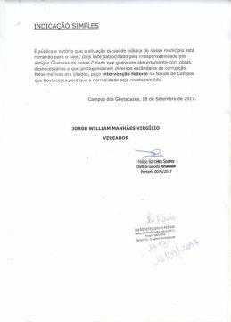 Documento protocolado na Câmara pelo vereador (Foto: reprodução facebook)