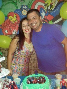 Geciane e Fabiano em uma festa de aniversário (Foto: reprodução)